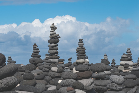stacked stone: stone pyramids, stacked stone towers Stock Photo