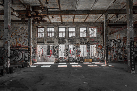 abandoned warehouse: run down loft room in abandoned warehouse  factory