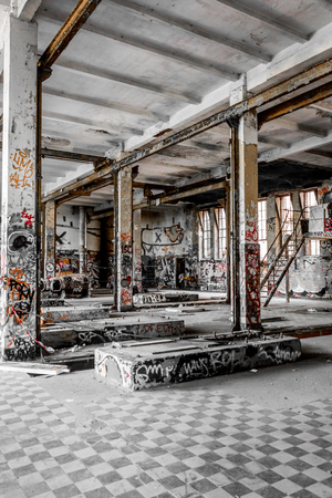 abandoned building, empty old factory  warehouse Stock Photo