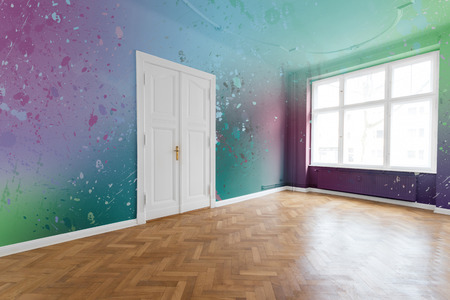 renovated: paint splashes on colored walls in renovated flat
