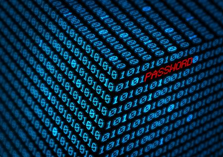 computer password in binary code matrix