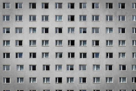 social apartment: windows on building facade - apartment block Stock Photo