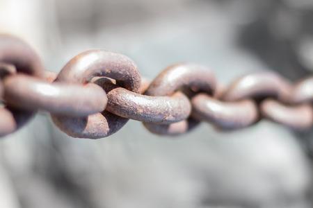 fixed line: big rusty chain closeup - rusted chain
