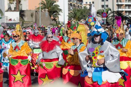 People in costumes celebrating carnival (Carnaval de Santa Cruz de Tenerife).