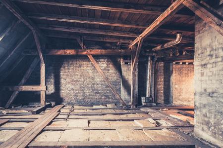 old garret, attic loft  roof construction