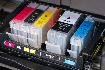 ink cartridges inside printer - open ink printer
