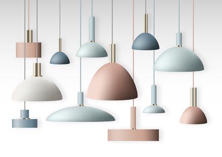 pendant lights - hanging lamps collection illustration Illustration