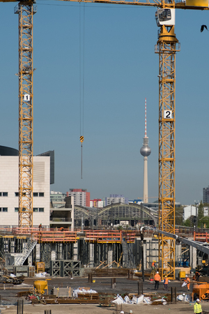 construction site Berlin - tv tower and cranes