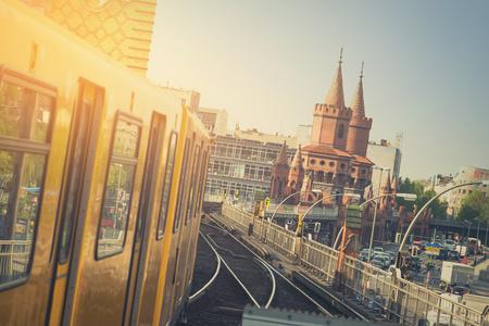 U-Bahn train on Oberbaum Bridge in Berlin