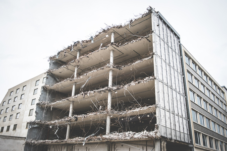 dismantle: building ruin - destroyed house , demolished building