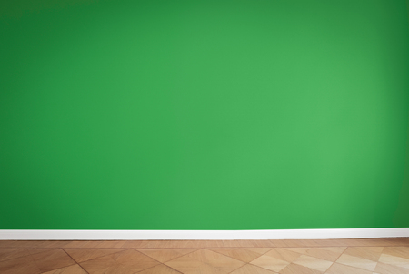 green wall background, empty apartment room Stock Photo