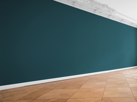Blue wall background in empty room with wooden floor