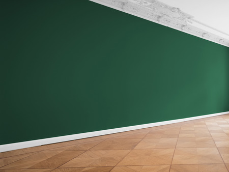 green wall background in empty room with wooden floor