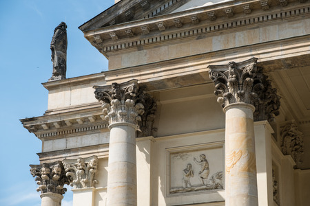 building detail of the pillars capitals of the french dome stock