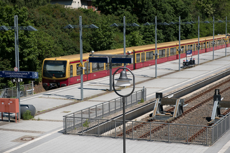 multiples: Berlin, Germany - may 27, 2017: S-Bahn train at terminal train station Olympiastadion  (Olympic Stadium) in Berlin, Germany. Editorial