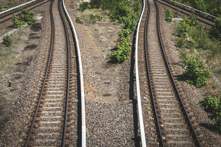 split rail: two ways - rails, railway, two railroads splitting Stock Photo