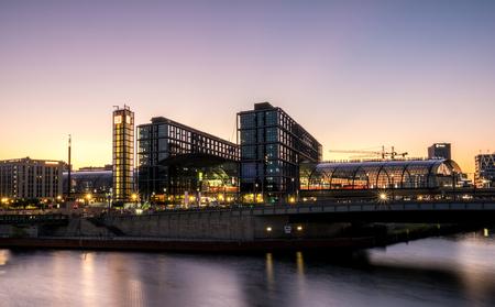 Berlin, Germany - may 27, 2017: Berlin Hauptbahnhof ( Berlin Main Station) and river spree at night