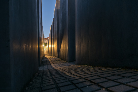 murdered: Berlin, Germany - may 27, 2017: The Memorial of the Murdered Jews in Europe also known as the Holocaust Memorial in Berlin at night.