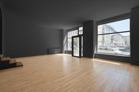 empty shop interior with shopping window