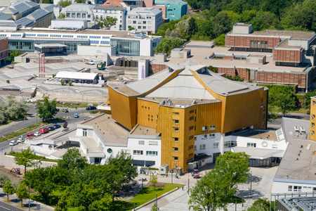 Aerial view on the Berlin Philharmonic, a concert hall in Berlin, Germany. Stock Photo