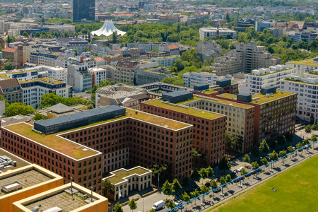 public housing: Skyline of Berlin downtown - aerial of city center