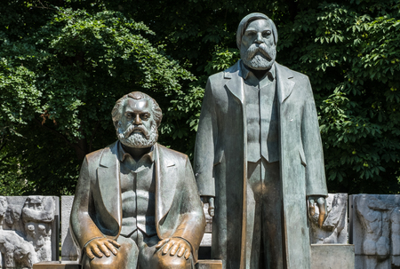 Sculpture of Karl Marx and Friedrich Engels near Alexanderplatz in Berlin, Germany.