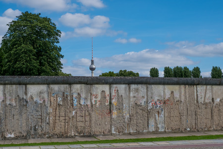 Berlin, Germany - July 13, 2017: Remains of the Berlin Wall  Berlin Wall memorial at Bernauer Strasse in Berlin, Germany.