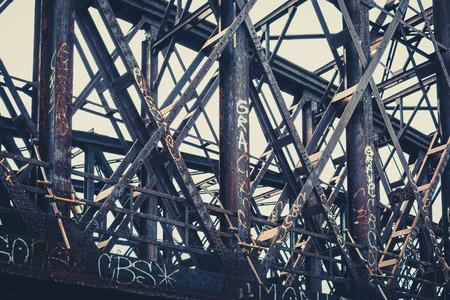 old rusty steel bridge construction , rusted steel beams Stok Fotoğraf - 82104548