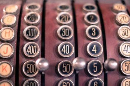 teclado numerico: viejo, efectivo, registro, Primer plano, vendimia, registro