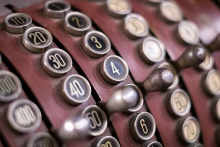 old cash register closeup - vintage register Stock Photo