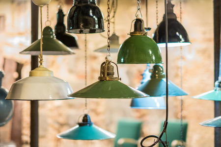 group of vintage lights hanging , industrial lamps