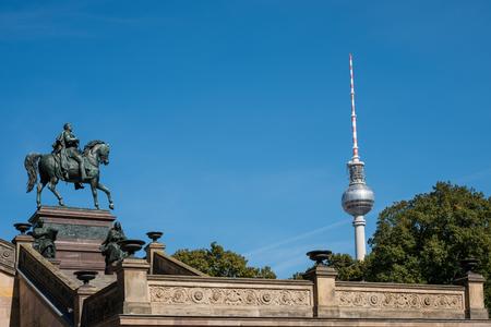Berlin landmarks - TV Tower and  statue of Frederick William IV - Friedrich Wilhelm Editorial