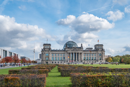 The Reichstag building, the german house of parliament, on a sunny autumn day in Berlin, Germany.