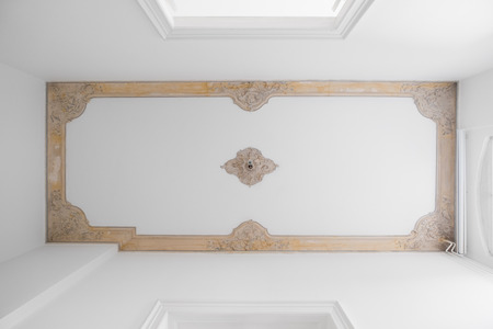 Exposed stucco ceiling in old building after renovation -