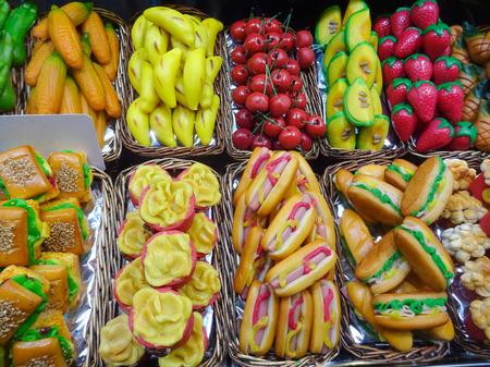 marzipan fake food market stall - food concept -