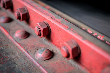 steel construction detail -  bolt, screw, nuts  and rivets closeup  - Stock Photo