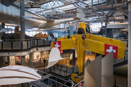 Berlin, Germany - February, 2018: Airplanes at aviation exhibition inside the German Museum of Technology (Deutsche Technikmuseum Berlin (DTMB))