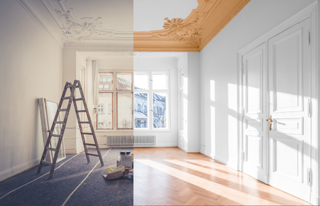 renovation concept - room before and after renovation