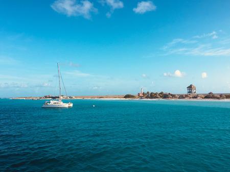 catamaran sailing boat near coast of Klein Curacao island Standard-Bild