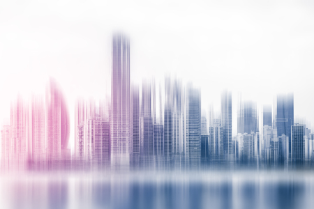 abstract skyline concept - modern  skyscraper buildings - business district skyline Stok Fotoğraf