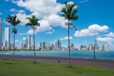 palm trees, ocean and skyscraper city skyline - Panama City