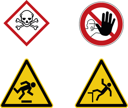 construction site warning signs, toxic, stop and caution symbols