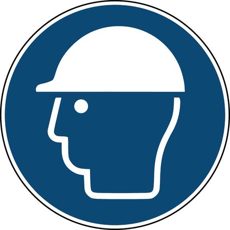 helmet sign - blue mandatory safety sign construction site