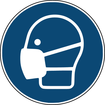 mask pictogram, safety instruction construction site sign Vectores