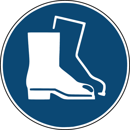 safety shoes icon  - blue  sign for construction site safety