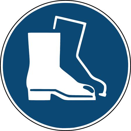Veiligheidsschoenen icon - blauw bord voor de veiligheid van de bouwplaats Stockfoto - 100392994