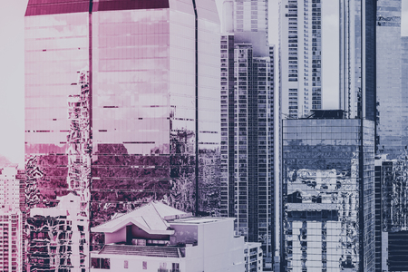 real estate background, modern building facade and skyscraper city skyline