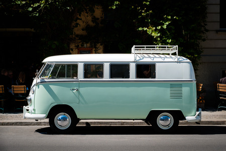 A vintage VW T1 BULLI, vintage car from Volkswagen on street in Berlin, Germany.