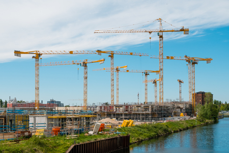 Many cranes on construction site of the Europacity neighborhood in Berlin, Germany