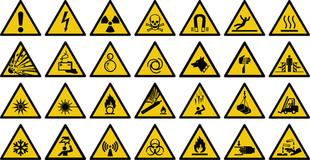 Warning sign vector sign - Set of triangle yellow warning sign. Vector, illustration Vectores